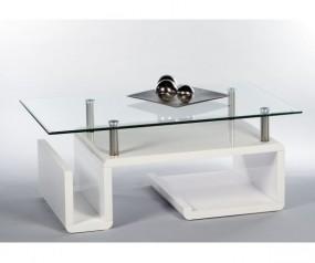 Stolik szklany ława kawowa wysoki połysk biały 110 cm