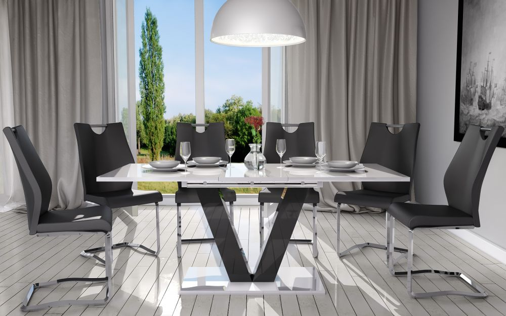 Stół Rozkładany Do Jadalni Salonu 160200 Biały Lub Biało Czarny