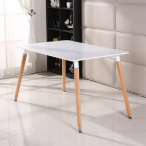 Stół do jadalni biały blat nogi drewniane 120/80