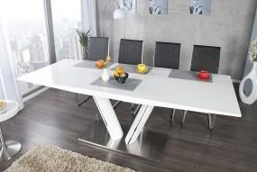 Stół do jadalni 160-220 połysk biały wwysoki połysk rozkładany