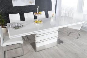 Stół do jadalni 160-220 biały wysoki połysk rozkładany