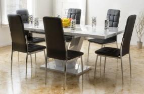 Biały stół rozkładany 140/180 cm + 6 czarnych tapicerowanych krzeseł