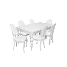 Biały zestaw do jadalni stół +6 krzeseł 160/215cm