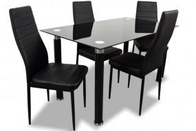 Czarny stół do jadalni w komplecie 4 tapicerowane krzesła