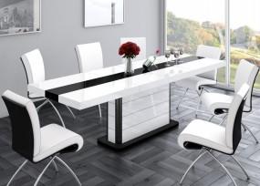 Stół do jadalni wysoki połysk biało-czarny 160/260 cm