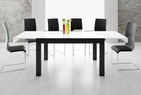 Rozkładany stół do jadalni biało-czarny wysoki połysk 140/190/240 cm