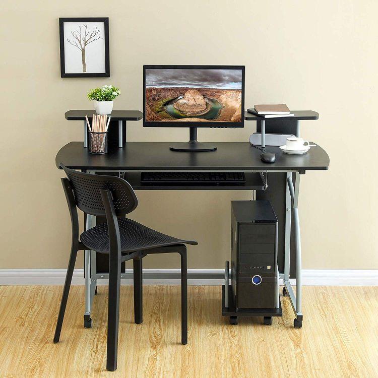 Mobilne Biurko Komputerowe Czarne Biurowe Kompaktowe Stół