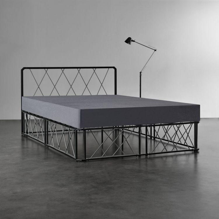łóżko Sypialniane Metal 140 X 200 Cm Czarne