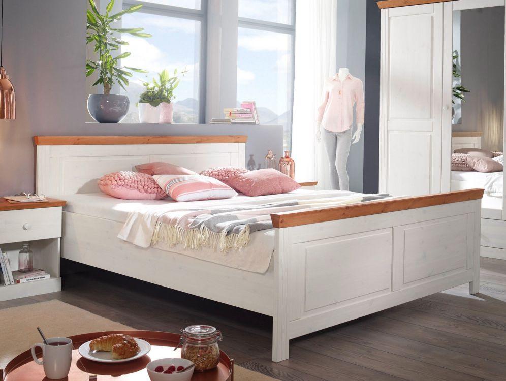 łóżko Drewniane Podwójne Sypialniane 180 X 200 Cm Sosnowe Biały Miód