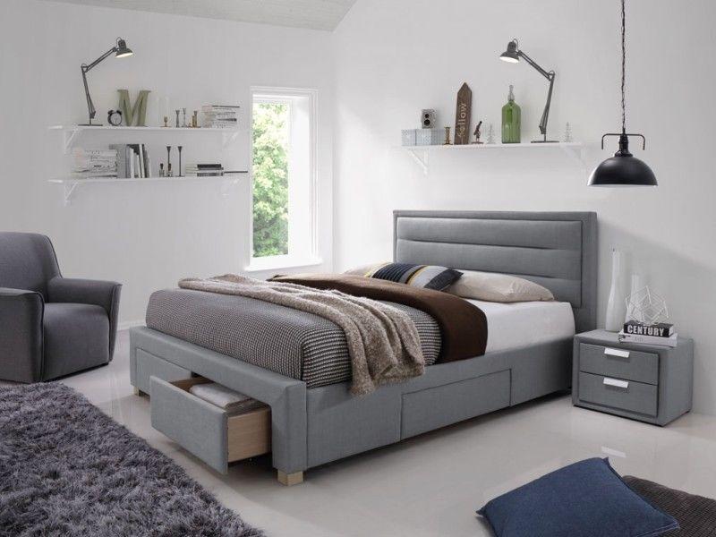 łóżko Tapicerowane 160 Cm Materiał Sypialniane Małżeńskie Szare