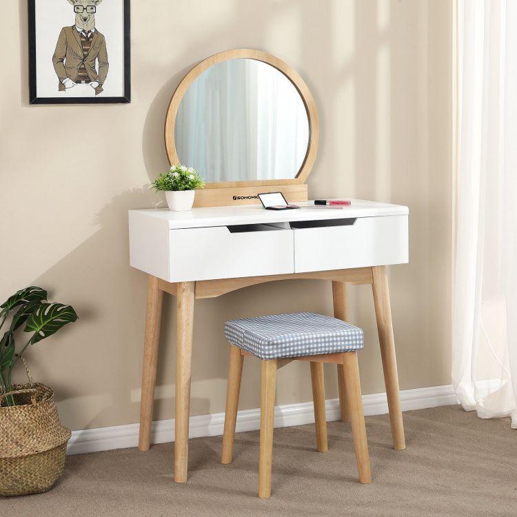 toaletka nowoczesna st kosmetyczny bia y z lustrem. Black Bedroom Furniture Sets. Home Design Ideas