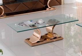 Ekskluzywny stolik szklany 130 cm barokowy rose gold