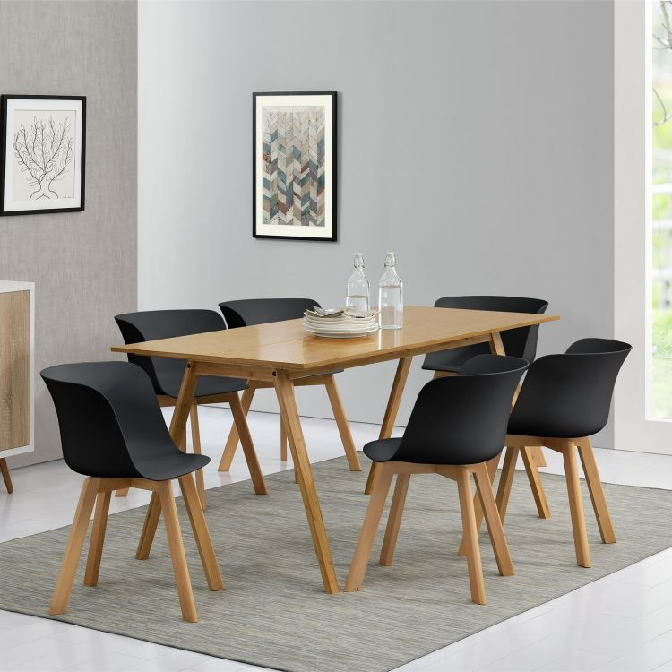 Zestaw Do Kuchni Stół 6 Krzeseł Czarny Bambus