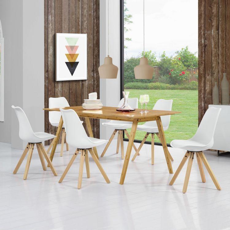 Zestaw Do Kuchni Stół 6 Krzeseł Biały Bambus