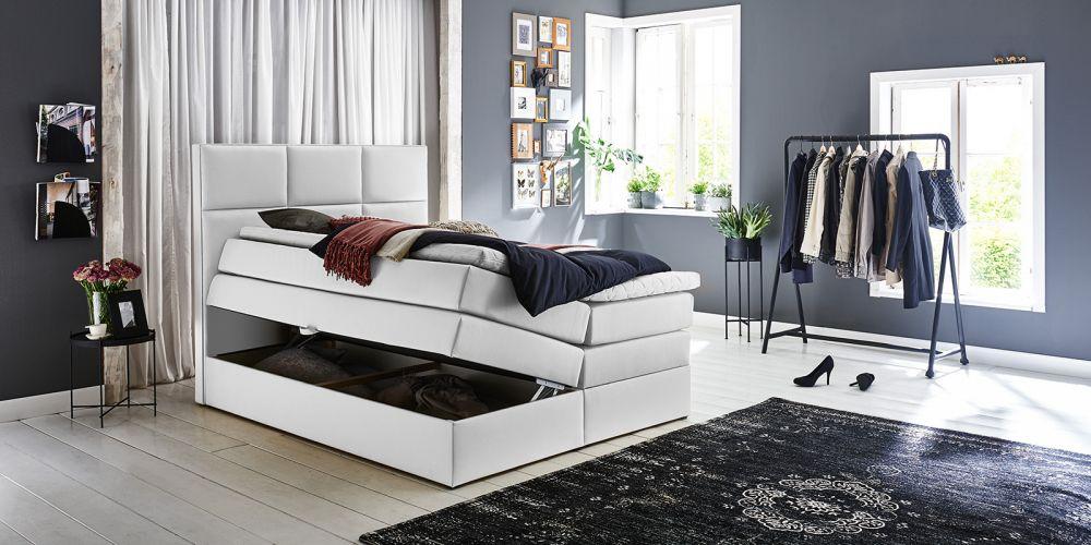 łóżko Sypialniane Skórzane Białe 160x200 Pojemnik Na Pościel