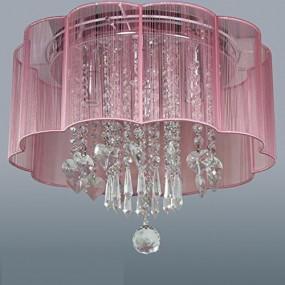 Lampa sufitowa różowa kryształy żyrandol