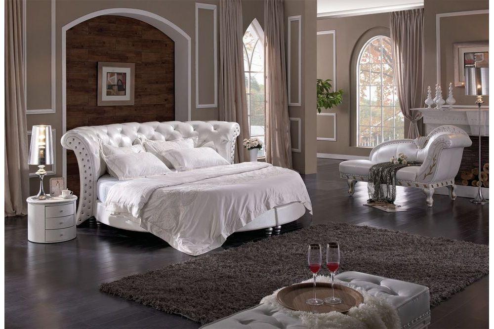 łóżko Sypialniane Chesterfield Okrągłe Białe Tapicerowane
