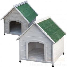 XXL Drewniana buda dla psa klatka biała szara