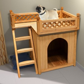 Drewniana buda dla psa do ogrodu do domu z balkonem