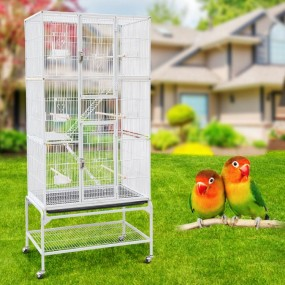 Woliera biała klatka dla ptaków metalowa klatka dla zwierząt