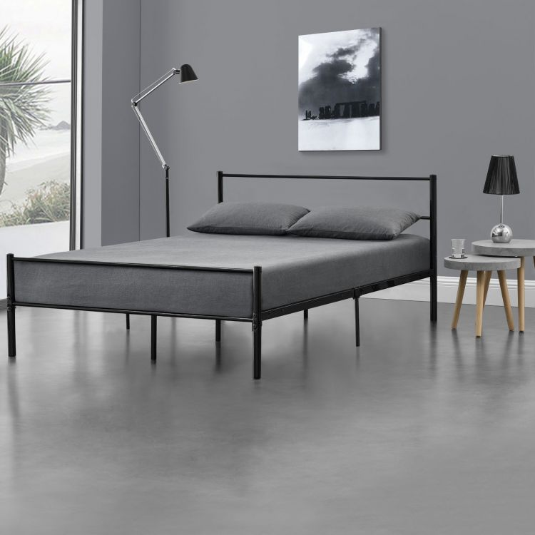 łóżko Metalowe 140x200 Metal Czarne Sypialnia