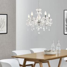 Żyrandol kryształowy lampa wisząca biała 5 ramienna