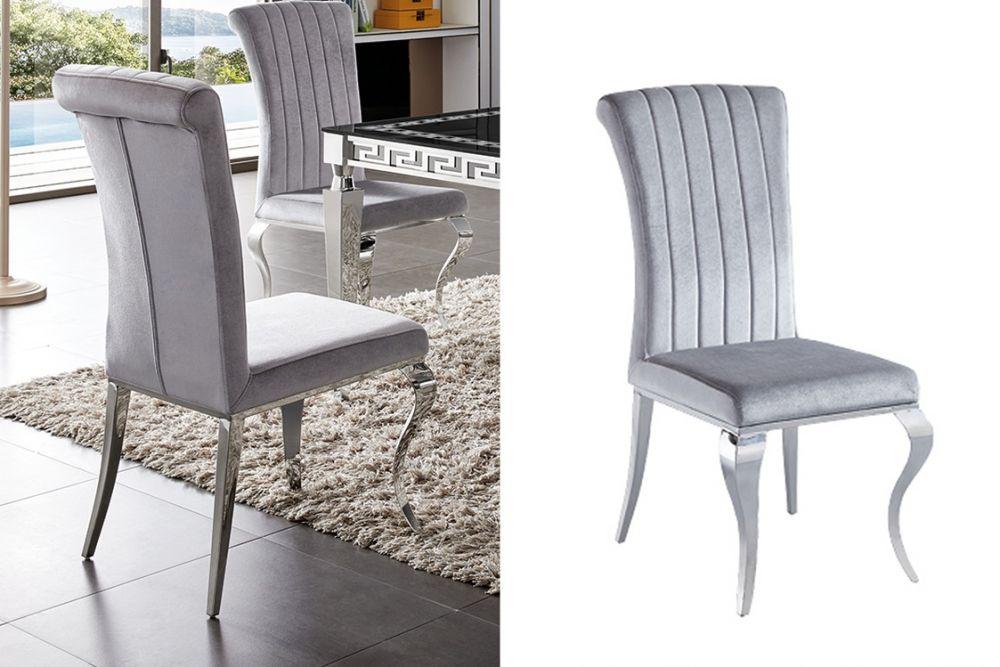Krzesło Ekskluzywne Do Jadalni Szare Aksamit