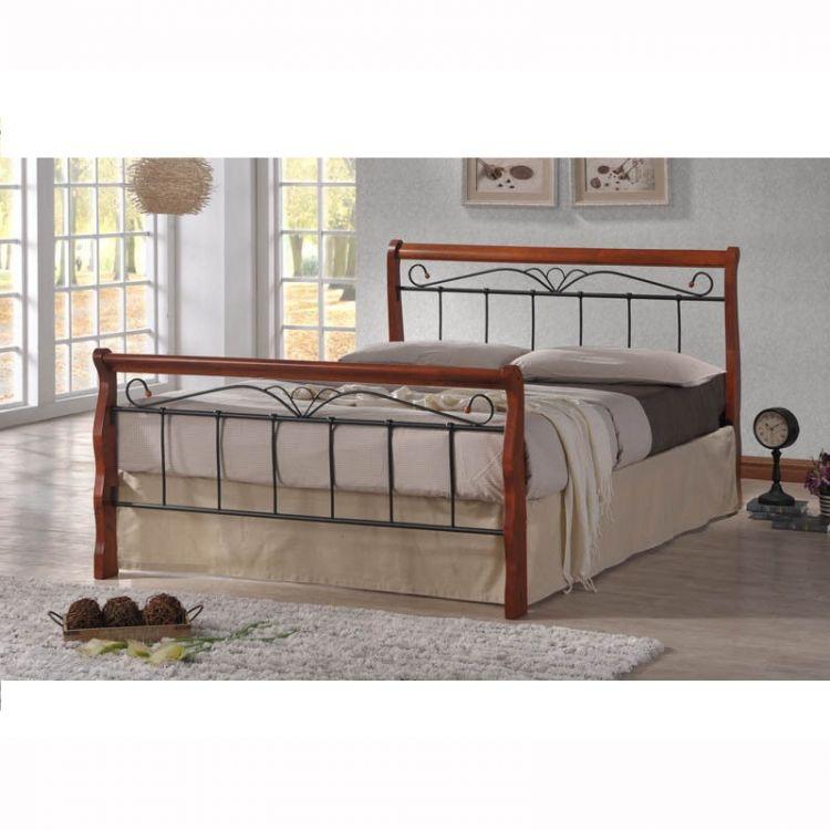 łóżko Sypialniane Metalowe Drewno 140 160