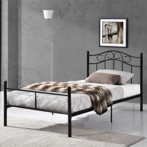 łóżko Metalowe 90x200 120x200 140x200 Metal Czarne Sypialnia