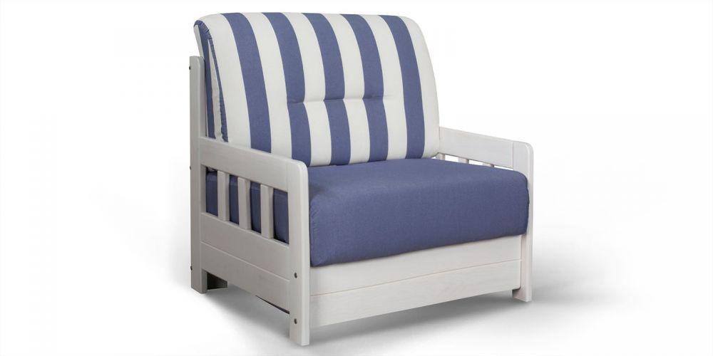 Fotel Z Funkcją Spania Biało Niebieski Rozkładany
