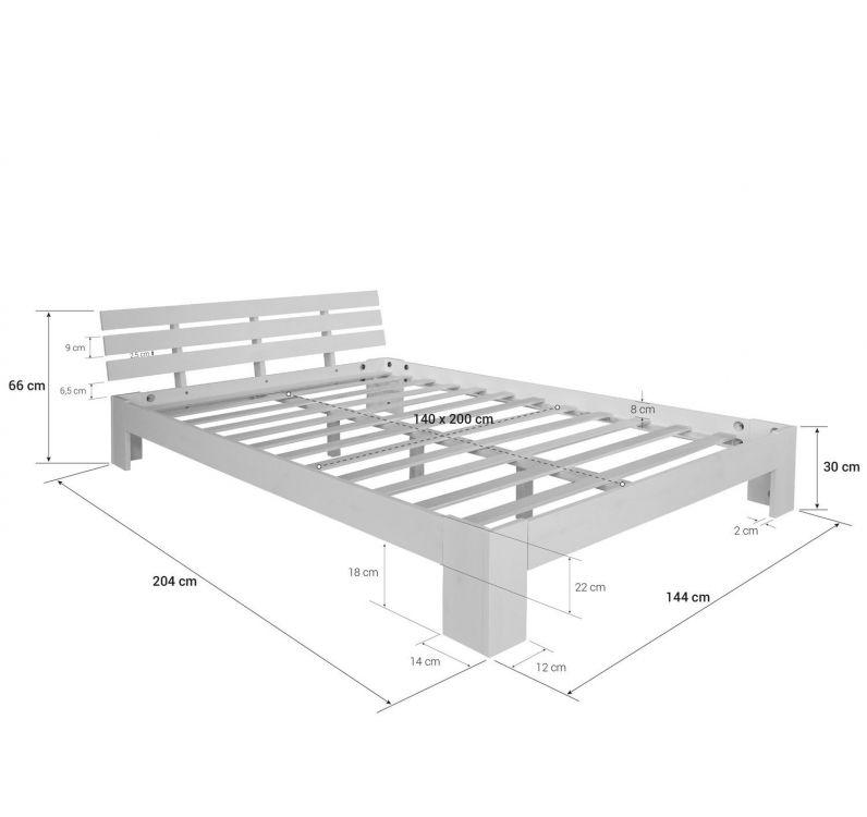 łóżko Drewniane Małżeńskie Białe Sosnowe 180x200 Stelaż