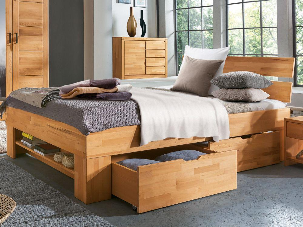 łóżko Drewniane Małżeńskie Z Litego Drewna 180x200 140x200 Lite Drewno Szuflady Półki