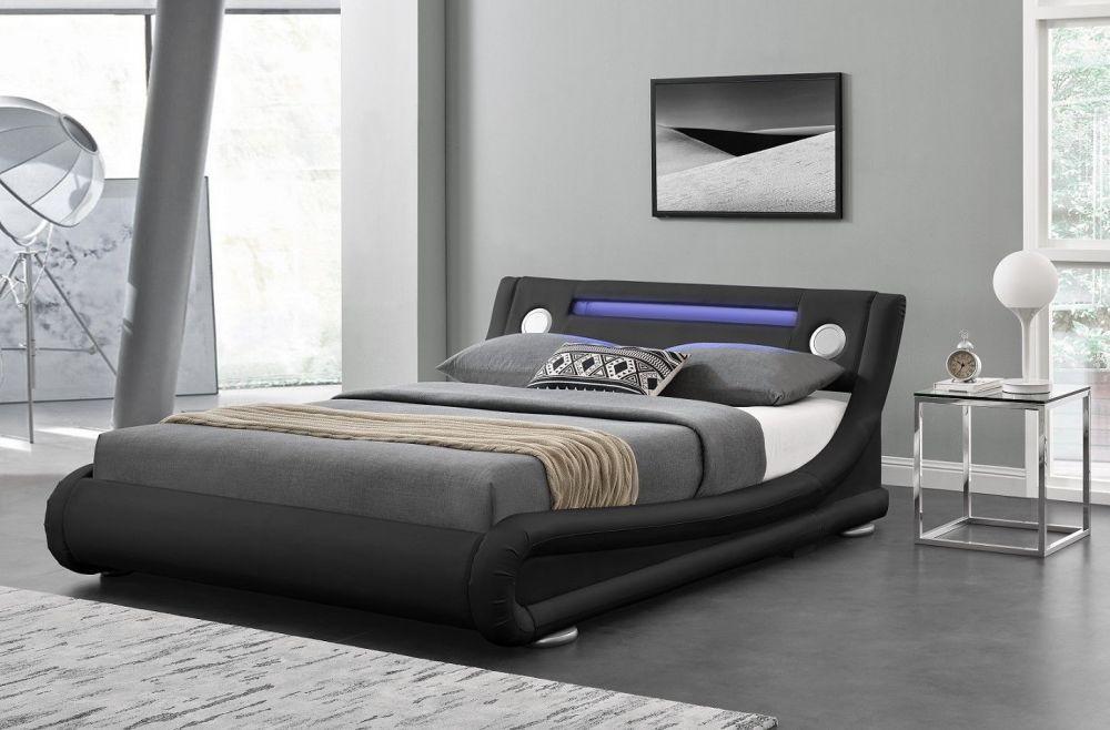 łóżko Do Sypialni Czarne 140160180x200 Led Bluetooth
