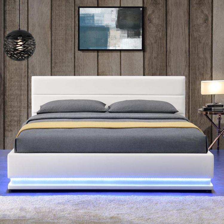 łóżko Do Sypialni Białe 140x200 Led Pojemnik Na Pościel