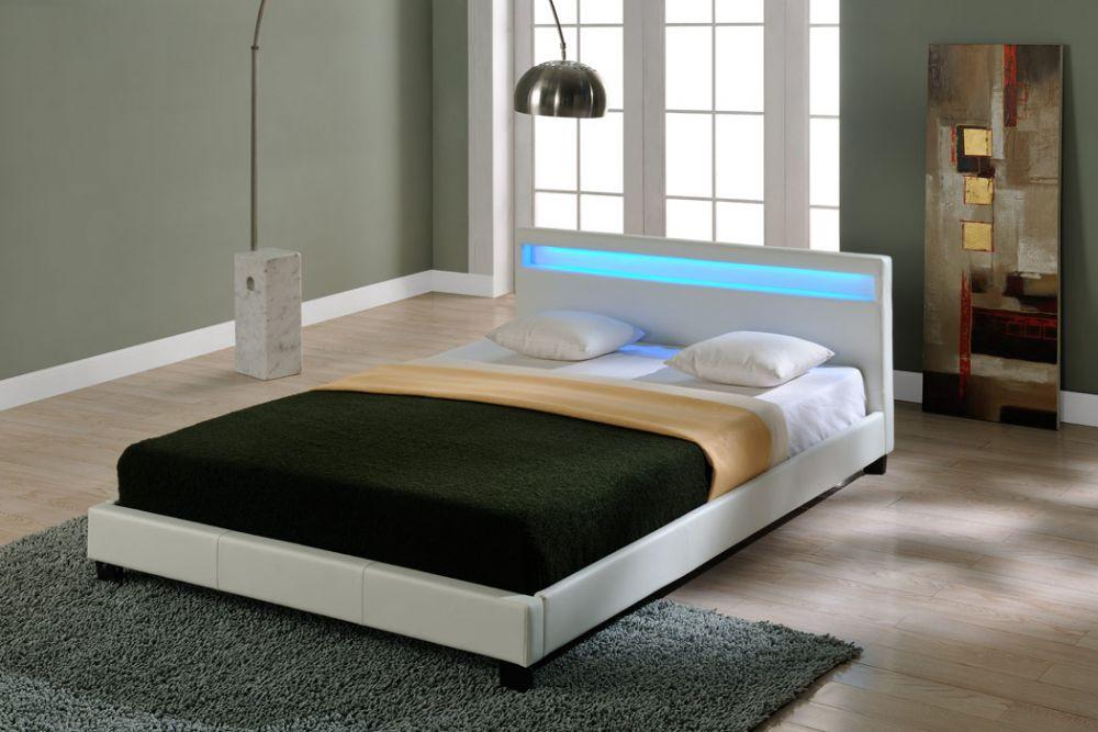 łóżko Do Sypialni Czarne Lub Białe 140160180200x200 Led
