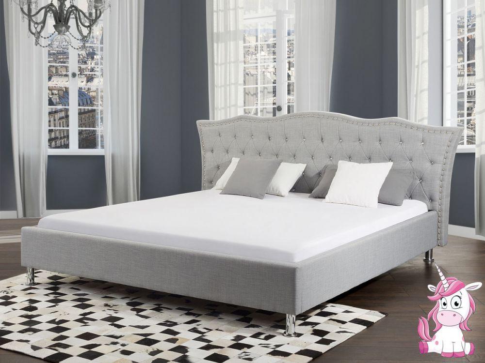 łóżko Małżeńskie Materiałowe Tapicerowane 160x200 Podwójne Pojemnik Na Pościel