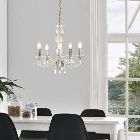 Żyrandol kryształowy 52cm lampa wisząca 5 ramienna