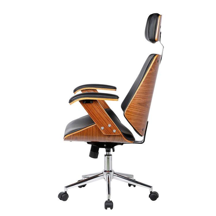 Fotel biurowy krzesło obrotowe drewniane czarne sklep