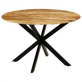 Stół do jadalni okrągły drewniany styl industrialny drewno stal stolik