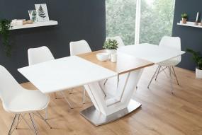 Stół do jadalni 160-220cm biały dąb matowy rozkładany stolik ława drewno stal nierdzewna