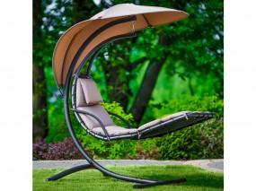 Leżak ogrodowy łóżko wiszące patio ogród taras materiał bujany brąz