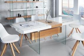 Stół do jadalni 160-200cm biały dąb wysoki połysk rozkładany stolik ława szkło