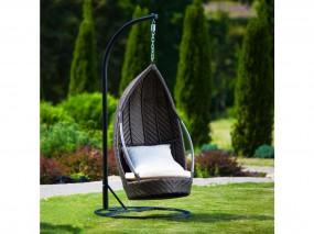 Fotel bujany wiszący ogrodowy patio wodoodporny rattan brąz