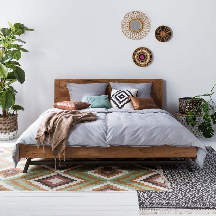 Drewniane łóżko 200x220 Masywne Do Sypialni Sklep