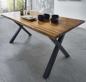 Stół do jadalni drewniany 120cm stolik ława drewno metalowe nogi X gruby blat