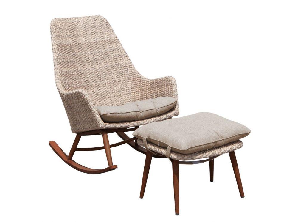 Fotel Bujany Krzesło Ogrodowe Podnóżek Patio Technorattan Cappuccino Mebel Brąz Relax