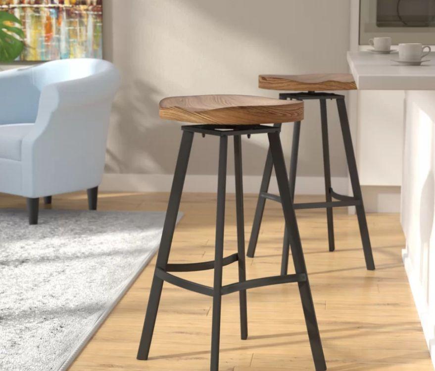 Solidny hoker barowy styl INDUSTRIALNY stołek z drewna