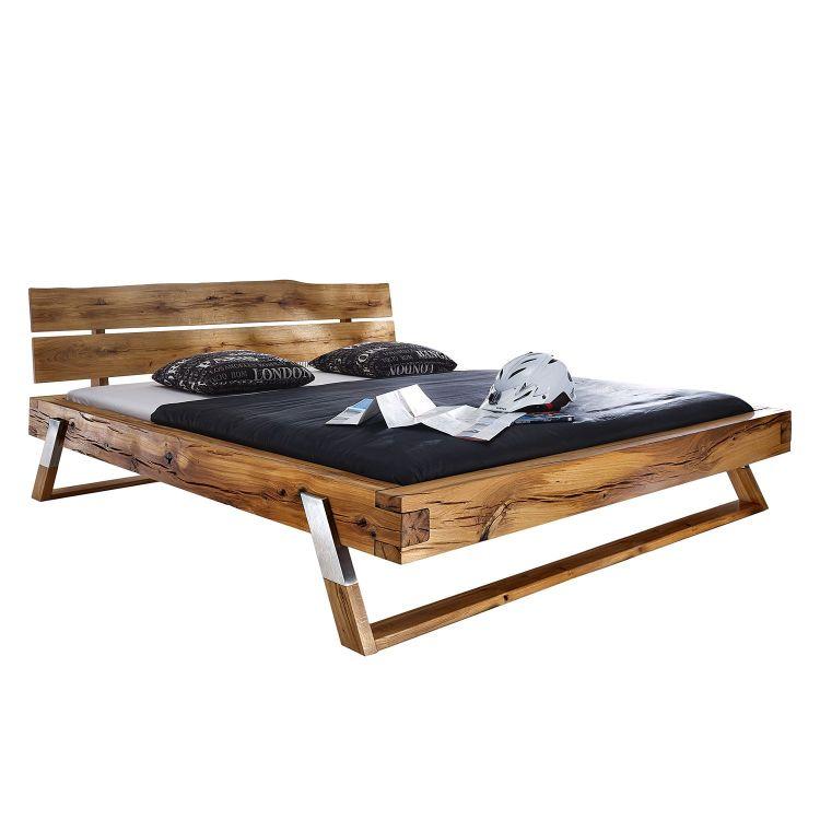 Drewniane łóżko 200 X 200 Masywne Duże Małżeńskie Do Sypialni Dąb Metal