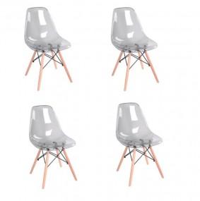 Krzesła 4 szt Komplet 4 krzeseł akrylowych do jadalni Zestaw krzesła przezroczyste szare