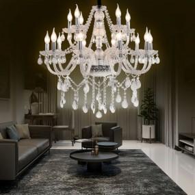 Duży żyrandol Kryształowy antyczny żyrandol lampa wisząca 15 ramion